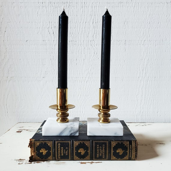 Hollywood regency style glam vintage candlesticks. Marble and brass.