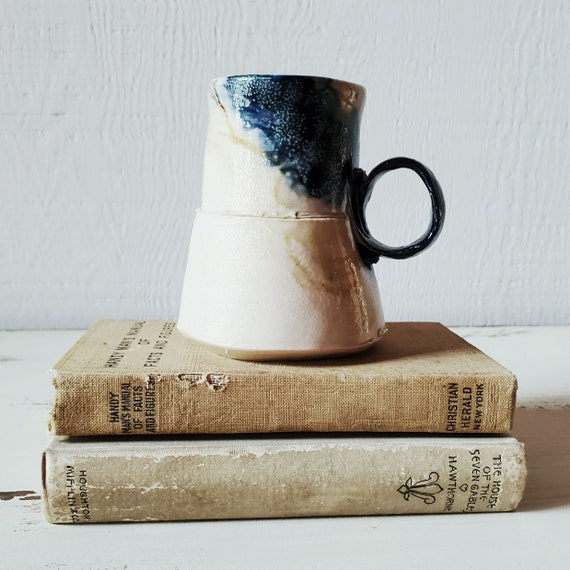 Art pottery mug. Wonky little adorable mug in white and blue. Handmade coffee mug, signed.