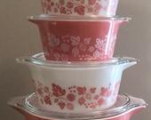 Gorgeous Set of Pyrex Gooseberry Casseroles 471-475