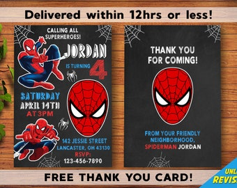 Spiderman Birthday Invitation With FREE Thank You Card Amazing Personalized