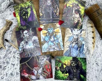 Carte postale A6 sur papier mat originaux peints à la main à l'aquarelle, inspiration Warcraft