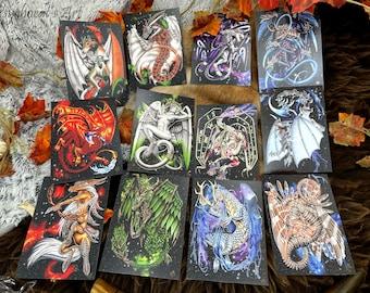 Postcard A6 on original watercolour hand-painted matte paper, Zodiac Dragons
