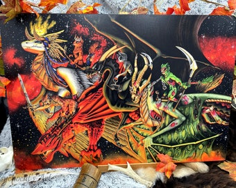 Forex painting in pvc A2-42X62cm handmade illustration in watercolor, Cat-valier of the Apocalypse