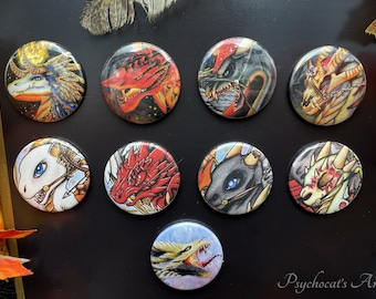 Badge boutton 38mm with pin magnet metal key holder handmade, model to choose dragon apocalypse