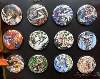 Badge boutton 38mm with pin magnet key holder in metal handmade, model to choose dragon zodiac