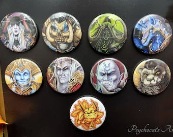 Badge boutton 38mm with pin magnet key holder in metal handmade, model of choice inspiration Warcraft
