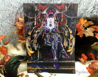 Poster A2 on original matte paper hand-painted in watercolor, banshee queen inspired Bydanas