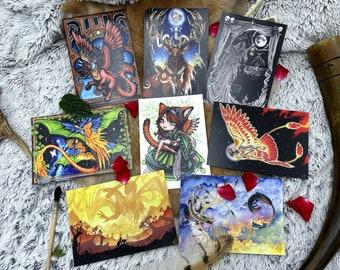 A6 postcard on original matte paper hand-painted in watercolor, fantastic creatures LEJ