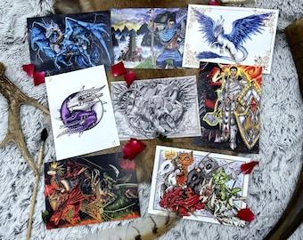Carte postale A6 sur papier mat originaux peints à la main à l'aquarelle, créatures fantastiques