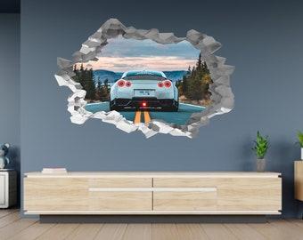 Orange Nissan Skyline GTR 3D Voiture Enfants Autocollants Muraux Chambre décalque mur Art