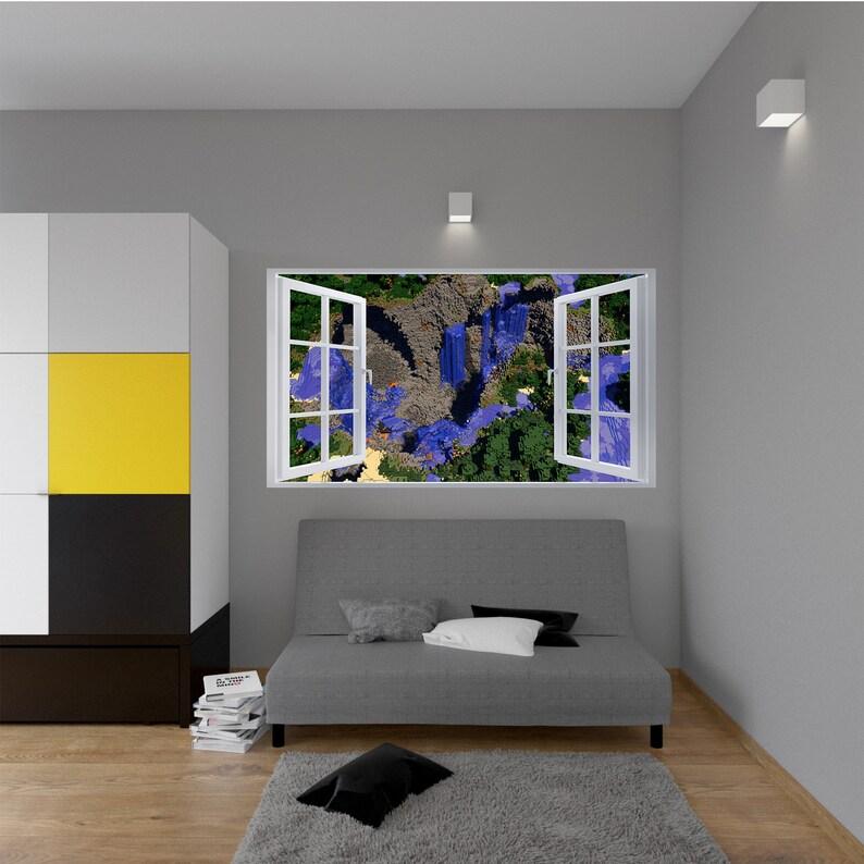 Minecraft Map 3d Window Effect Self Adhesive Wall Sticker Art Decal Mural