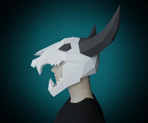 Scary Mask Papercraft Animal Skull 3d Diy Adult Paper Craft Pattern Printable Pdf Template Halloween Costume Cow Bison Bull Helmet
