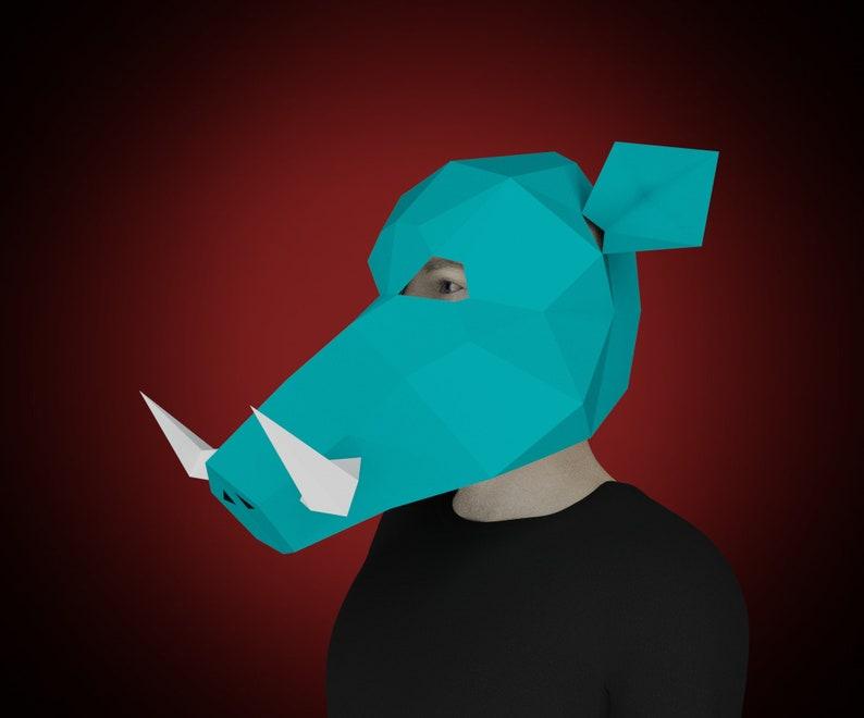 carnival festival mask 3d template WARTHOG Boar pig MASK PAPERCRAFT make your own Animal Paper halloween costume diy printable craft