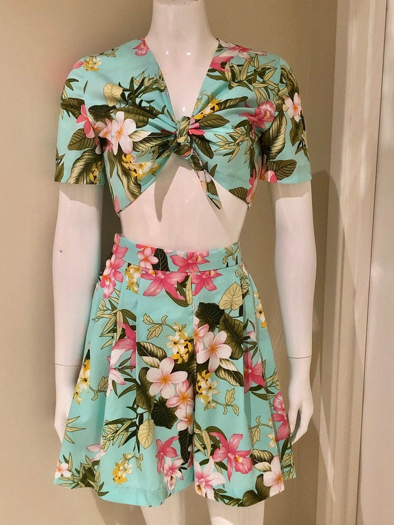 Vintage Rompers, Playsuits | Retro, Pin Up, Rockabilly Playsuits Shorts & Tie Top Playsuit - Tropical Blue 1940s Style $108.10 AT vintagedancer.com