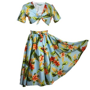 Vintage Skirts | Retro, Pencil, Swing, Boho Full Circle Skirt with Pockets and Tie Front Top $158.16 AT vintagedancer.com