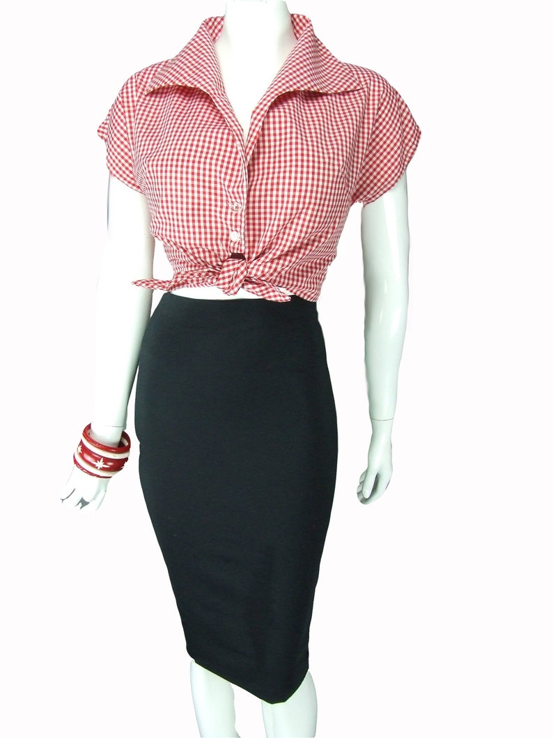 1950s Style Clothing & Fashion Tie Front Top - Red Gingham Shirt- Rockabilly Style - Style TH-133 $52.84 AT vintagedancer.com