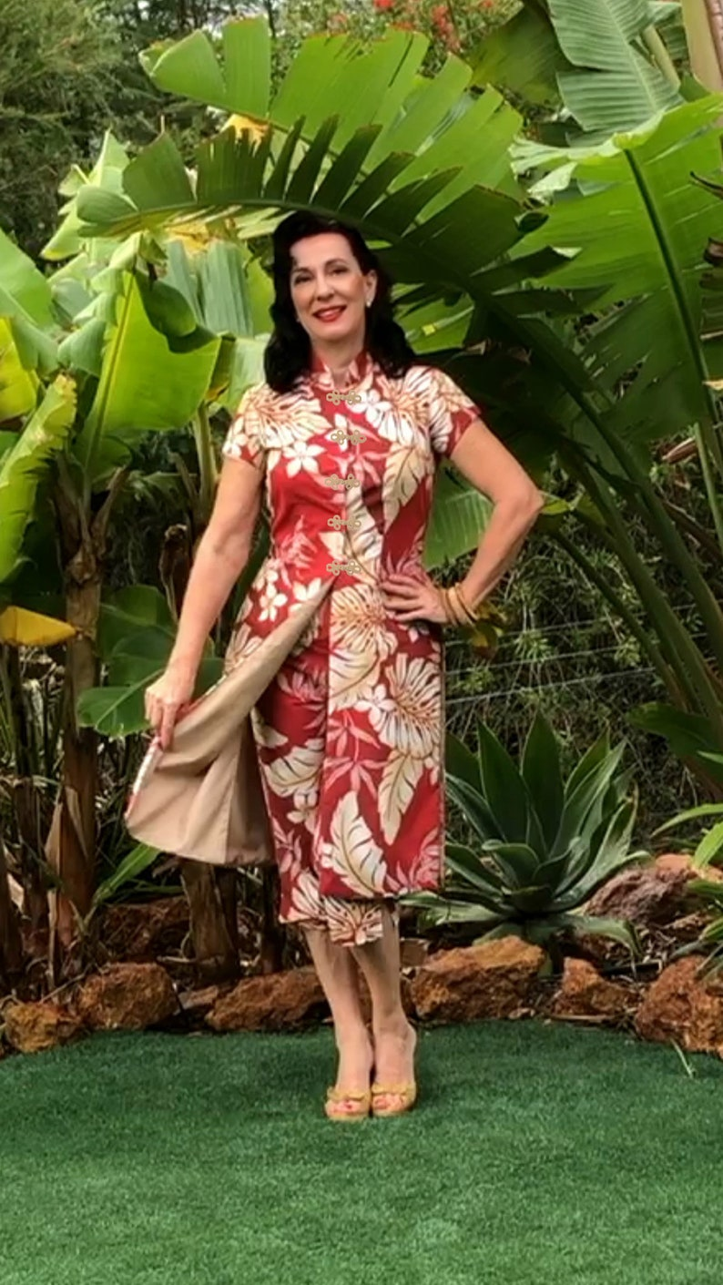 40s-50s Vintage Playsuits, Jumpsuits, Rompers History Tea Timer Dress With Matching Capri Pants - 1950s Style $191.04 AT vintagedancer.com