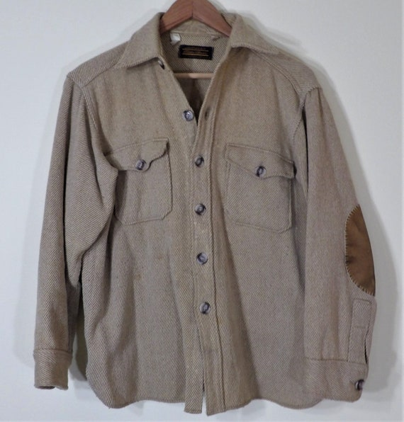 Eddie Bauer Heavy Wool Blend Tan and White Thin St