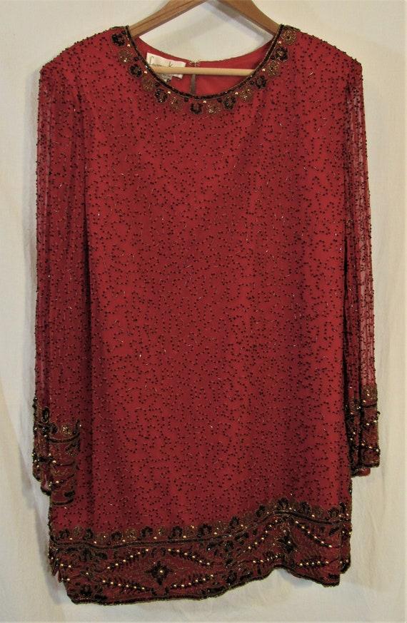 1980s/90s Laurence Kazar Red Silk Floral Beaded Ev
