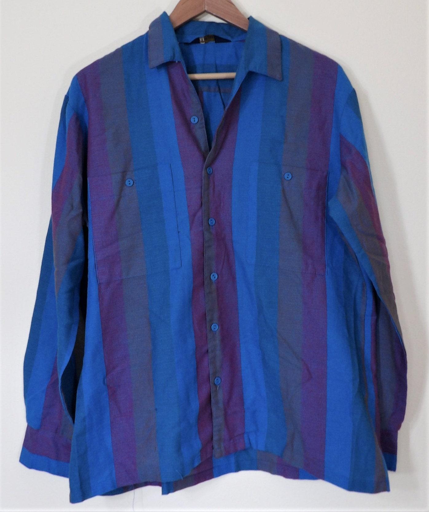 1960s – 70s Men's Ties | Skinny Ties, Slim Ties 1960s Vintage California Gold Jewel-Tone Striped Slub PolyCotton Long Sleeve Shirt Mens Large Made in Usa $24.99 AT vintagedancer.com