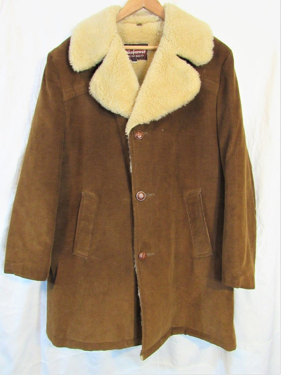 Vintage Lake Forest Brown Corduroy Sherpa-Lined Co