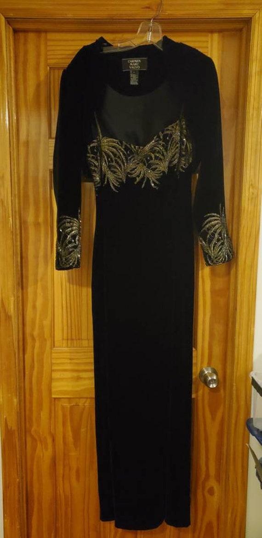 Carmen Marc Valvo Black Beaded Velvet Dress w/Bole