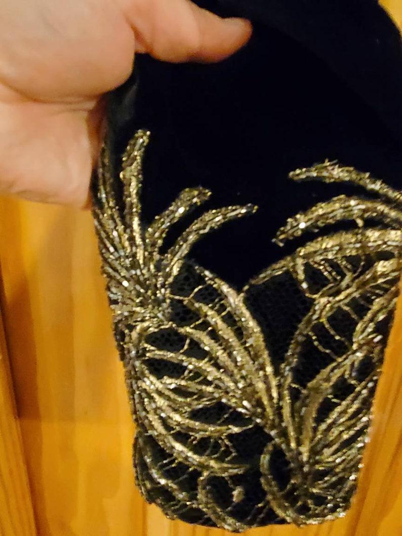 Carmen Marc Valvo Black Beaded Velvet Dress wBolero Jacket sz 10
