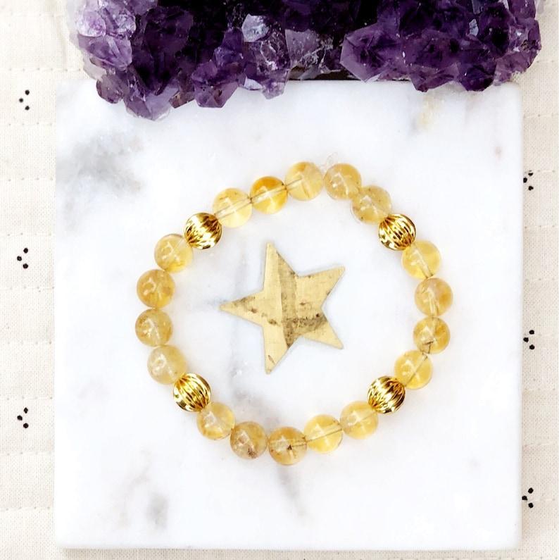 high grade gemstones Natural Citrine Gold Plated Beads Mala Bead Bracelet Healing Crystals semi-precious stones