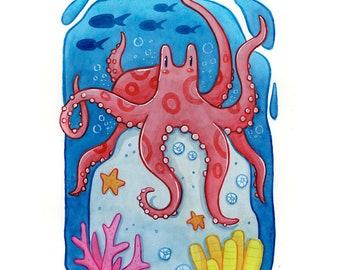 Red Octopus Art Print | Sea creature underwater ocean animal handmade artwork | Marine aquatic life watercolor prints