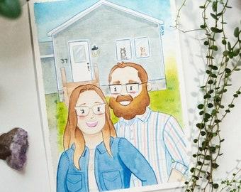 CUSTOM New Home Milestone Portrait | Couple & Family Personalized Watercolor Artwork | Handmade Art Christmas Gift Ideas