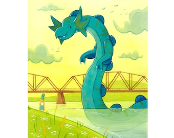 River Serpent Art Print | Fredericton New Brunswick Bill Thorpe Walking Bridge Saint John River Wolastoq River | Cute Sea Creature Artwork