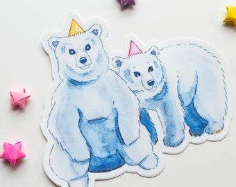Full Colour POLOR BEAR CUTE Wild Animal Room Wall Art Sticker Decal WSD617