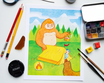 """Cute Funny Sasquatch Wall Art 8""""x10"""" Unlimited Edition Print 