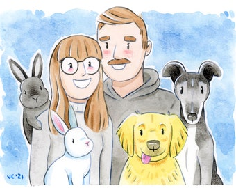 CUSTOM Family & Couples Portrait | Christmas Gift Ideas | Handmade Watercolor Portraits | Birthday Anniversary Present Art Keepsake