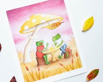Autumn Frog Cafe Fine Art Print | Romantic Fall Scene Print | Children's Book Illustration Style Print | Cute Frog Wall Art | Fall Mushrooms