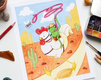 "Frog Cowboy & Chicken Wild West Art Print | 8""x10"" Unlimited Edition Illustration Prints | Mixed Media Artwork by Vena Carr Illustration"