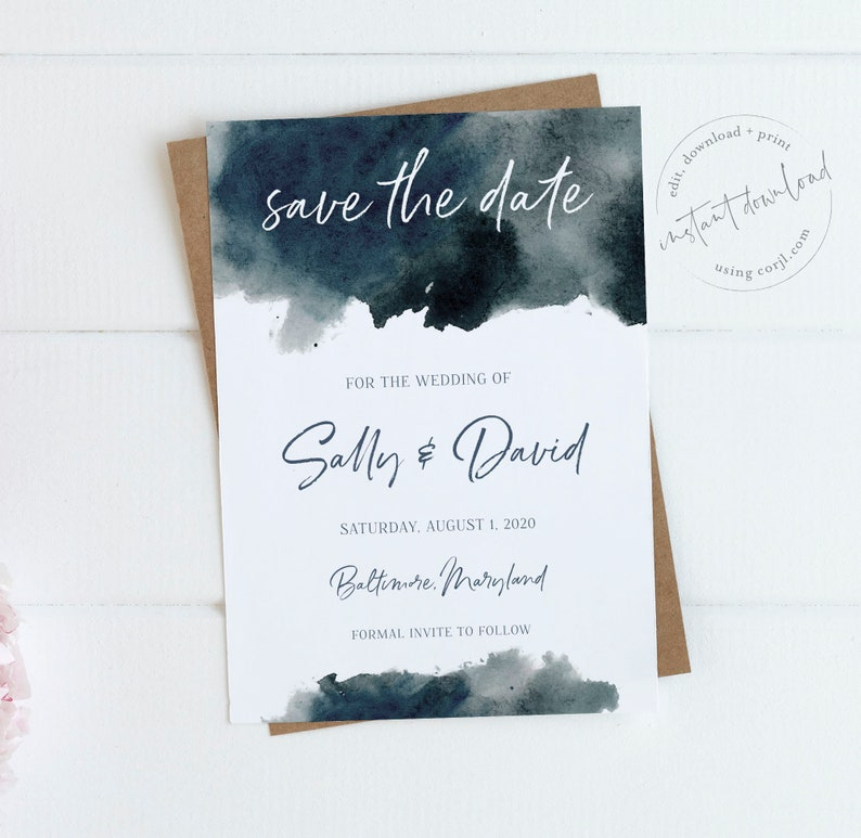 5x7 Navy Watercolor Save the Date Wedding Announcement Blue Save the Date Cards Editable Card Instant Download Printable Invite