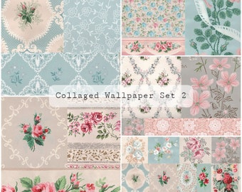 Collaged Wallpaper Pages Set 2   Junk Journal Printable