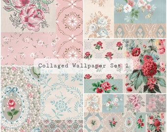 Collaged Wallpaper Pages Set 1   Junk Journal Printable