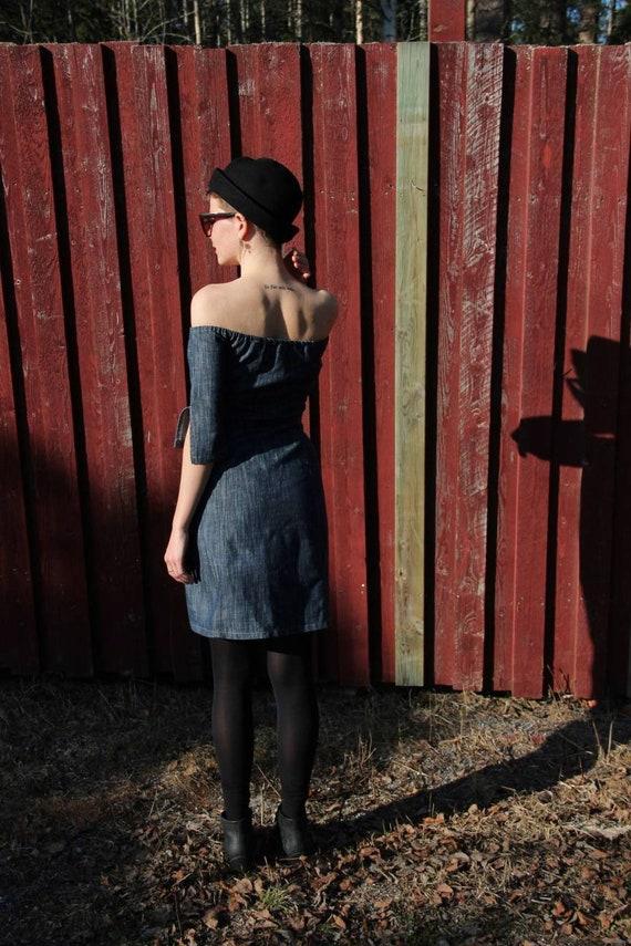 French Denim off-shoulder dress