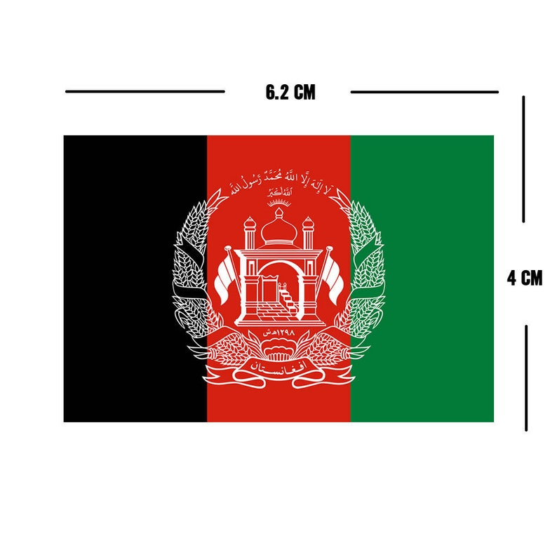 Set of 2 Afghanistan Flag Iron on Screen Print Transfers for Fabrics Machine Washable Afghani Flag patch
