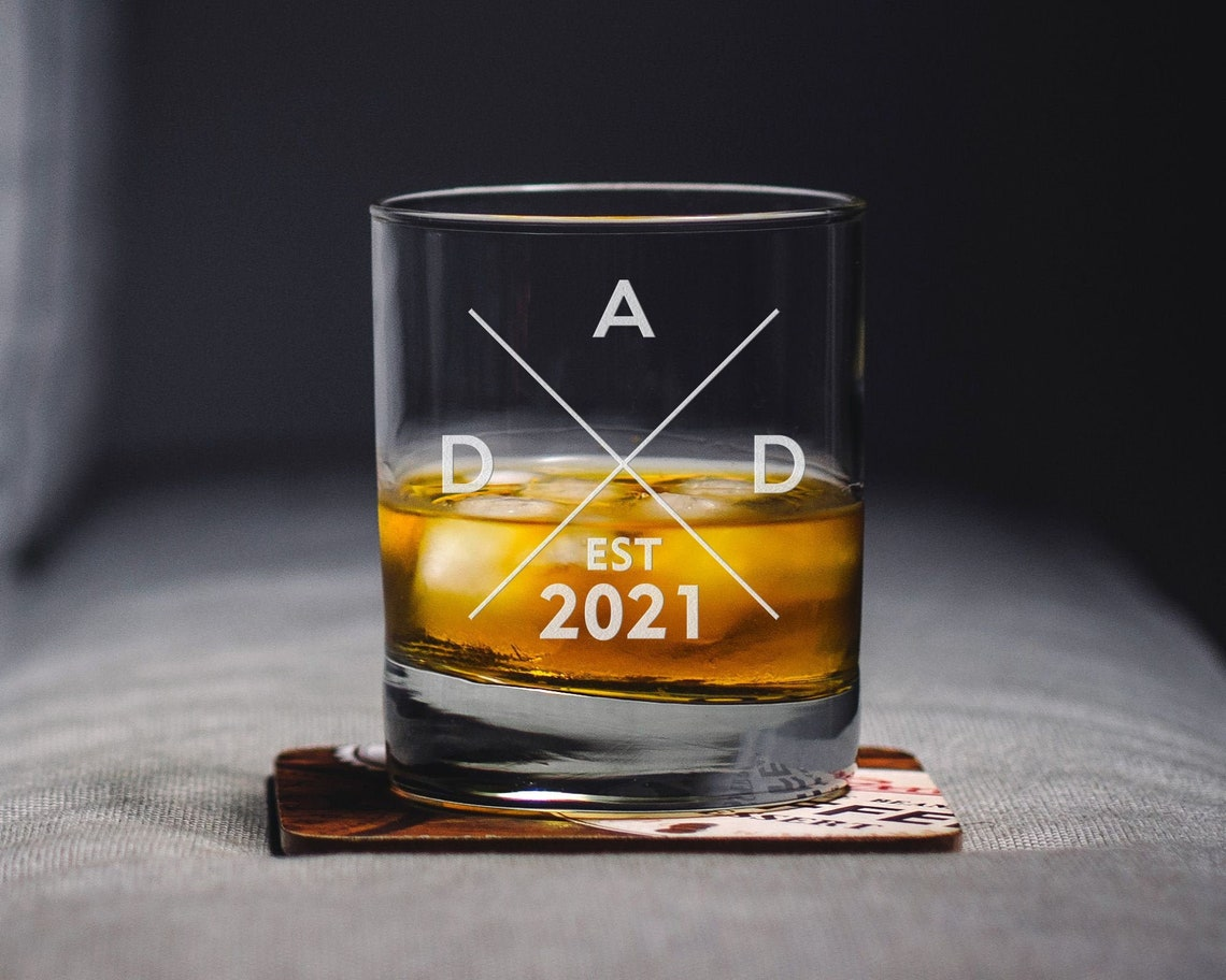 New Dad Gift Whiskey Glass  Dad Established Custom Whiskey image 0