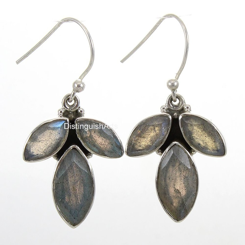 Leaf Earrings-Labradorite Earrings-Dangle Earrings AAA Quality-925 Sterling Silver-100/% Genuine Gemstone Nature Earrings Tree Earrings