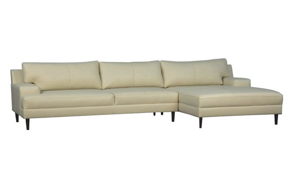 best loved 83e99 13716 Modern Contemporary Sectional Right Arm Chaise with a Left Arm Sofa (Softy  Ivory Leather)