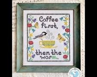 Coffee First cross stitch chart by Luminous Fiber Arts