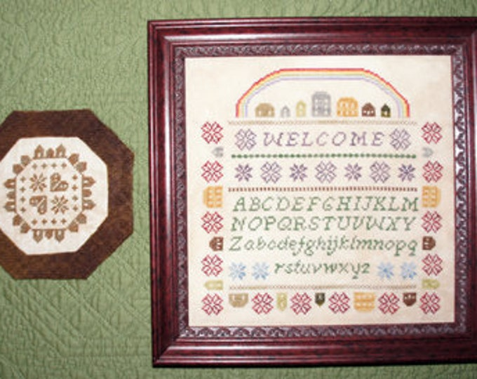 Featured listing image: Village Welcome Cross Stitch Chart PDF Download
