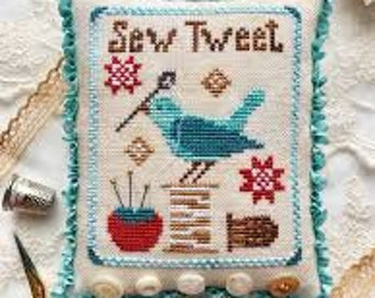 Sew Tweet cross stitch chart by Luminous Fiber Arts