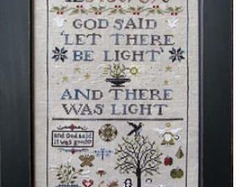 Jenny Bean's Creation Sampler cross stitch chart by Shakespeare's Peddler