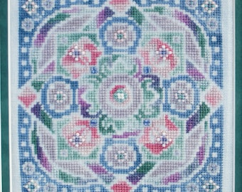 "Cross Stitch Chart ""Village Blooms"" with threads"