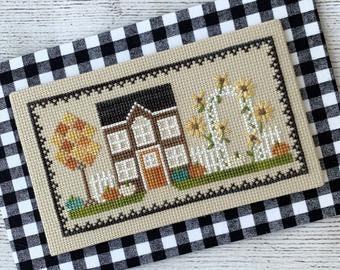 Harvest House cross stitch chart by Little Stitch Girl